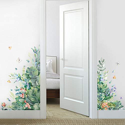 Pegatinas de pared de hoja verde extraíbles para sala de estar Puerta de dormitorio Refrigerador autoadhesivo Calcomanías de pared de bricolaje Murales de arte de vinilo