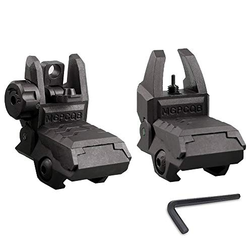 ZLIXING Foldable Front and Rear Sights Low Profile Flip up Sights Tactical Pop up Backup Sights for Picatinny Rail