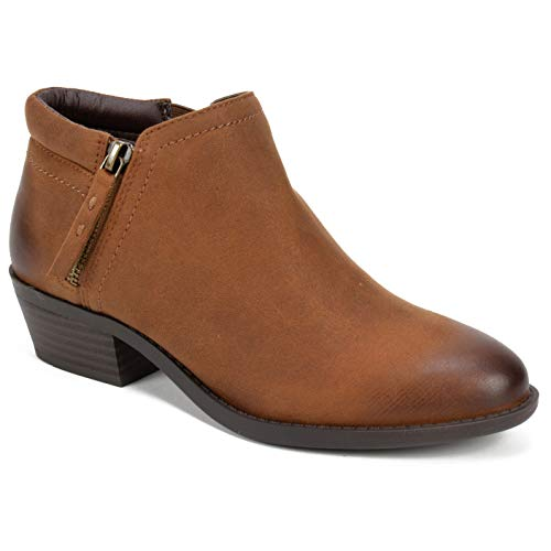 WHITE MOUNTAIN Women's Dandy Ankle Boot, Cognac/Fabric, 7.5 M US