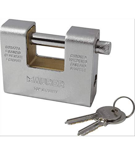 LUCCHETTO per SERRANDA CORAZZATO in acciaio cementato MAURER 60 mm 2 Chiavi