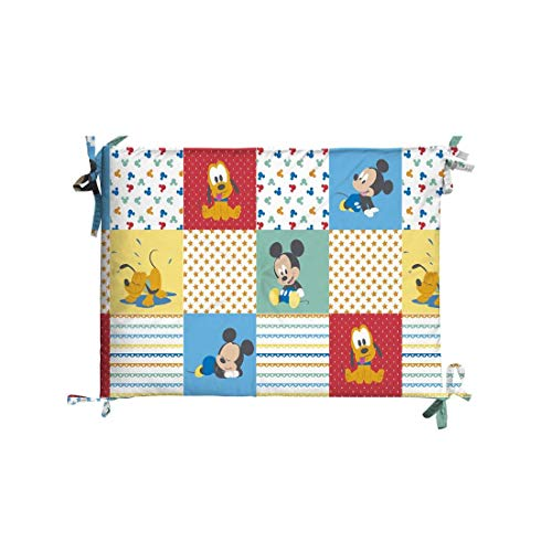 Tour de lit pour lit bébé – Disney Baby – Mickey Patch – Dimensions 40 x 180 cm – Revêtement 100% coton, rembourrage en fibre hypoallergénique de polyester – Fabriqué en Italie