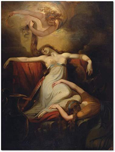 Cuadro por número para adultos y niños kit de pintura principiantes lienzo preimpreso sin marco-Johann Heinrich Füssli Pintura famosa Dido