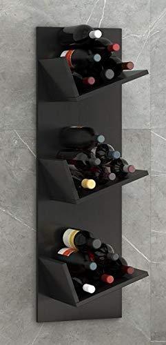 """VCM Regal Weinregal Wandregal Hängeregal Wein Regal Flaschenregal Holz Schwarz 106 x 33 x 26 cm \""""Vinosi\"""""""