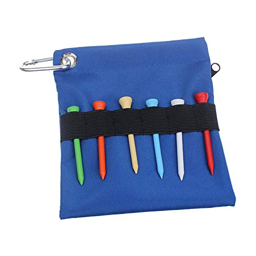 CRESTGOLFゴルフティー ポーチ アクセサリー 収納 防水 耐久性優れ 携帯便利 6本ティー付き ブルー