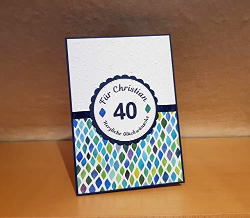 Geburtstagskarte XL (DIN A5), große Glückwunschkarte, Karte zum runden Geburtstag, Name und Zahl personalisiert, Handarbeit, handgemacht