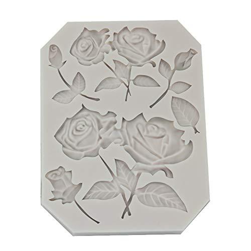 Hosaire 1X DIY Creativo Flor Redonda de Silicona Antiadherente Molde para Fondant Molde Decoración de Pasteles Molde para Hornear Galletas Patrón de Rosa de Chocolate Pastelería Molde (Gris)