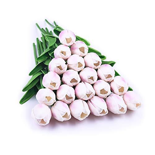 JUSTOYOU 20 STK PU Real Touch Latex Künstliche Gefälschte Tulpen Blumen Blumensträuße Blumen Arrangement für Home Room Hochzeitsstrauß Party Herzstück Dekor Helles Lila