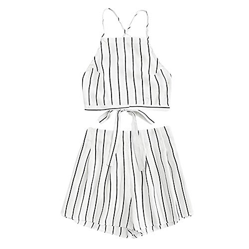 Cheapest Prices! Aniywn Summer Two Pieces Set,Women's Striped Print Backless Spaghetti Straps Crop C...
