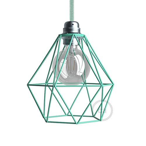 creative cables Pantalla Jaula Diamond de Metal con Casquillo E27 - Turquesa