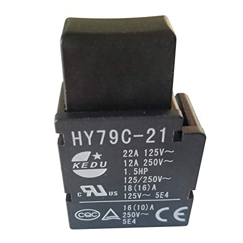 KEDU HY79C-21 - Interruptor de disparo con botón autobloqueo para máquina de corte, taladro eléctrico, cortacésped 125/250 V, 22/12 A, pack de 2