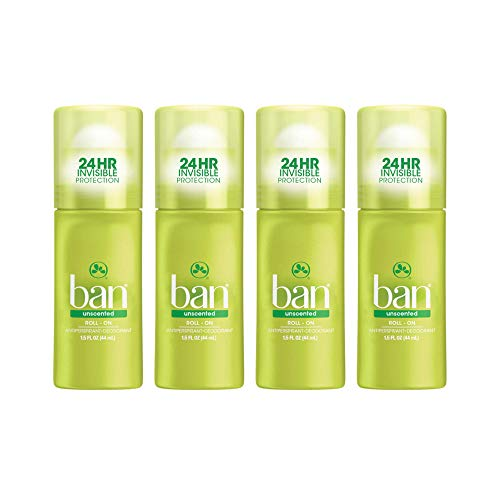 Ban Roll-On Antiperspirant Deodorant, Unscented, 1.5oz (Pack of 4)