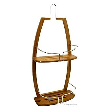 American Chateau Large 2-Tier Shelf Organizer Bamboo Bathroom Shower Tub Hanging Caddy