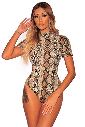 Boldgal Women's High-Neck Animal Print Bodysuit Top (Multi-Coloured_Small)