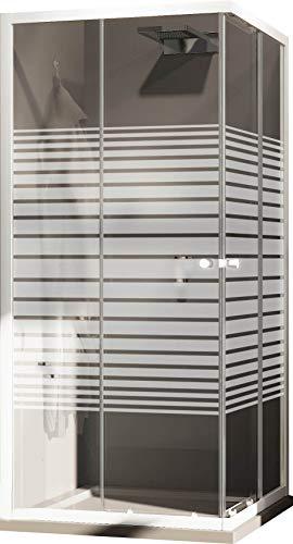 Box Doccia Angolare 75x75 cm 2 Ante Scorrevoli in Cristallo Serigrafato 4mm H185 Fosterberg Tonder Bianco