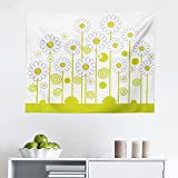 Ambesonne Floral Tapestry, Daisy Flowers in a Sunny Day with Leaves Garden Cartoon Swirl Details Image, Fabric Wall Hanging Decor for Bedroom Living Room Dorm, 28' X 23', Yellow and White