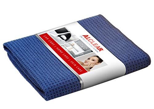 ALCLEAR 820901 Secador mágico, gamuza de microfibra para el coche, para el cuidado del coche, la pintura del coche, moto, cocina y hogar. Gamuza de microfibra para la vajilla, trapo de secado suave, 60x40 cm azul