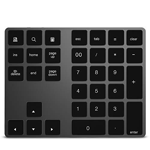 Godyluck- Wireless Numeric Keyboard Aluminium 34 Key BT Keyboard Built-in Rechargeable Battery Keypad for Windows/iOS/Android (Black)