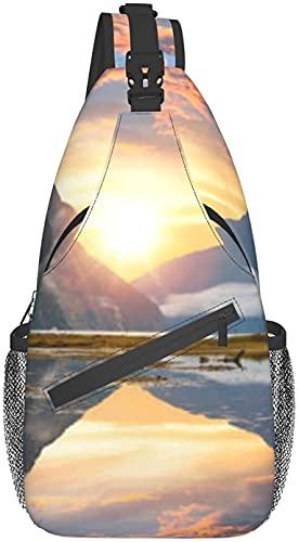 Bolso bandolera de moda adecuado para viajes diarios, deportes al aire libre, senderismo, famoso pico de inglete que se levanta del Mil Sound Fiord pecho bolsa cruzada