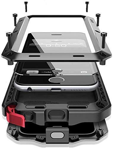 Mangix Carcasa para iPhone 6/6S, de aleación de aluminio de lujo integrada, de metal, protección extrema, a prueba de golpes, protección militar para iPhone 6/6S de 4,7 pulgadas, color negro