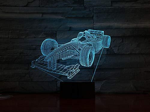 MBFT - Lámpara 3D de fórmula 1 coche de carreras con cambio de color con mando a distancia para Halloween, sensor táctil 3D, ilusión LED, lámpara de noche 3D anime