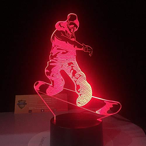 Snowboard LED-Licht 7 Arten Farbe die Nachtlichtacryl-USB-Tischlampe der Illusion 3D am besten Sportgeschenk ändert