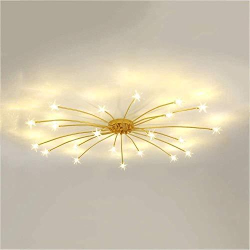 Chandelier de fuegos artificiales modernos, para la sala de estar Dormitorio de vidrio Luces de techo de luz, cristal Starburst Chandelier Colgante Light Gold D 28 Luces