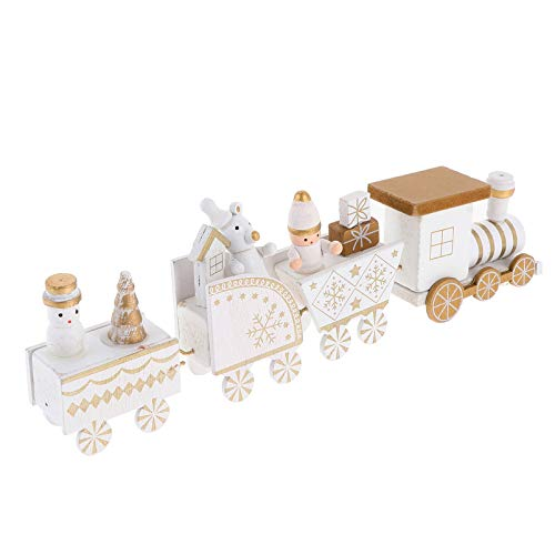 TOYANDONA Tema de Navidad Tren de Madera Decoración Escaparate de Madera Ornamento...