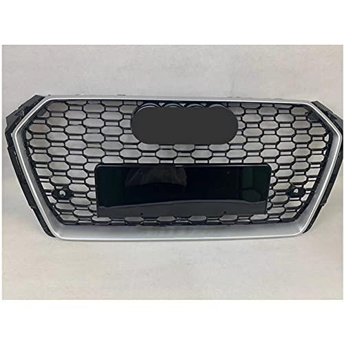 Rejillas Delanteras para RS4 Estilo Delantero Sport Hex Mesh Honeycomb Hood Grill Marco Plateado Parrilla Negra para Au-di A4 / S4 B9 2017-2019 (Color : Chrome Emblem)