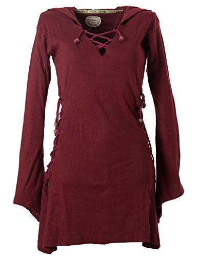 Vishes - Alternative Bekleidung - Elfenkleid mit Zipfelkapuze und Bändern zum Schnüren dunkelrot 36-38 (XS)