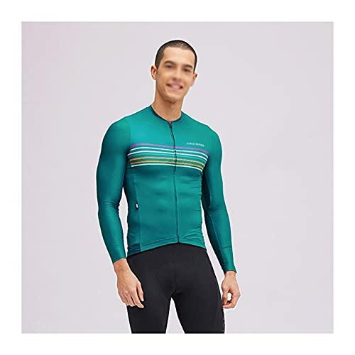 Jersey de Ciclismo para Hombre Primavera y Verano Ciclismo Jersey Secado rápido y Bicicleta de Manga Larga para Hombre Transpirable□ Camisas de Bicicleta con Cremallera Completa con Bolsillo Maillot