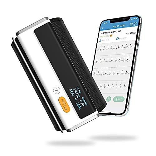 Armfit Plus Blutdruckmessgerät Bluetooth mit EKG, Oberarmmanschette, kabellosem Herzgesundheitsmonitor zeichnet Blutdruck, EKG und Herzfrequenz auf, kostenlose App für iOS und Android