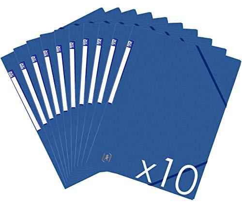 OXFORD 400114353 TopFile+ Lot de 10 Chemises Cartonnées Sans Rabats avec Elastiques Format A4 Bleu