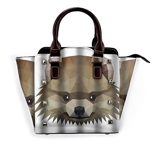 BROWCIN Symmetrisch eines pommerschen Spitzhundes auf Weiß Abnehmbare mode trend damen handtasche umhängetasche umhängetasche