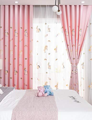 Lactraum Gardine Kinderzimmer Mädchen Prenzessin Bestickt Einhorn Regenbogen Wolke Krone Voile Universalband 145 x 245 cm