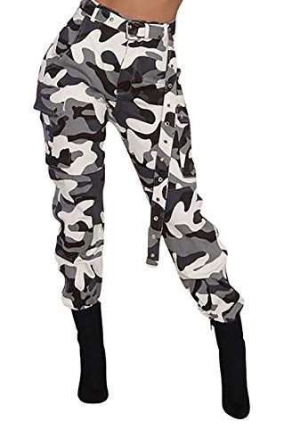 Voghtic Women's Active Loose Fit Jeans Multi-Pockets Wild Cargo Pants with Belt Black