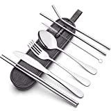 Portable Stainless Steel Flatware Set, Travel Camping Cutlery Set, Portable Utensil Travel Silverware Dinnerware Set with a Waterproof Case (Silver)