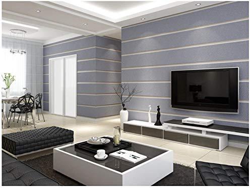 Papel pintado de rayas anchas 3D Sala de estar Dormitorio Hotel Rayas verticales simples Espesar Piel de venado Flocado Papel pintado no tejido 0.53X9.5M, gris