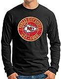 OM3® - Camiseta de manga larga Kansas City Badge para hombre   equipo de fútbol americano - manga larga - S - 4XL Negro XXL