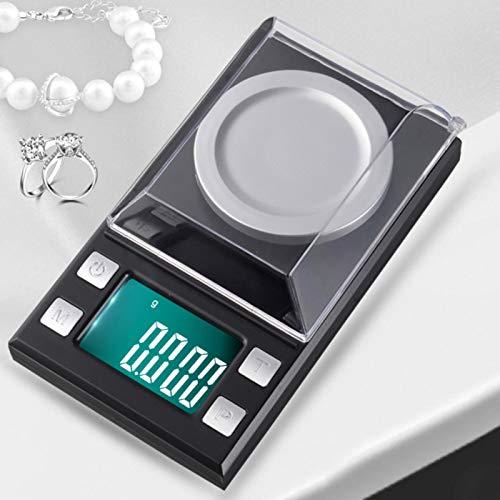 Emoshayoga Mini portátil del LCD de la balanza electrónica de la balanza Digital del Bolsillo para Las joyerías para el hogar(10g/0.001g)