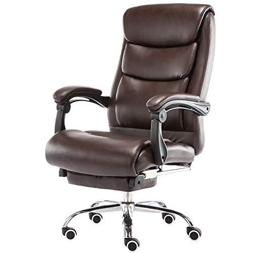 FZYQY Ergonomischer Bürostuhl,Computerstuhl aus PU Leder,Höhenverstellbarer Sitz,360°Drehung,Liegefläche mit Fußstütze und Roller,Maximale Last 150 kg (Braun)