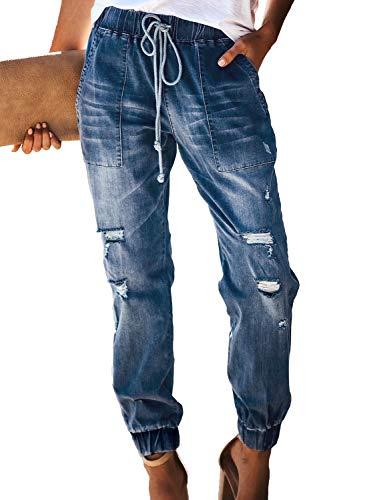 GOSOPIN Women Drawstring Elastic Waistband Loose Pants Jogger Denim Jeans Large Blue