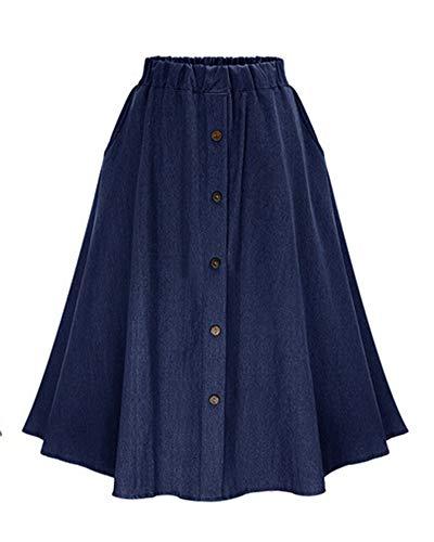 DianShaoA Mujeres Largo Denim Falda De Mezclilla con Botones Casual Jeans Vaqueras Plisada Azul Azul Marino XXL