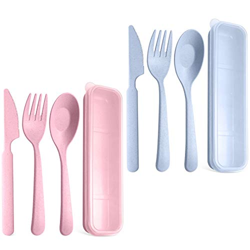 Peurif Reusable Portable Wheat Straw Plastic Utensils Silverware Forks Spoons Knives Set for Travel Camping Picnic, For Kids and Adults, With Storage Case (Blue/Pink)