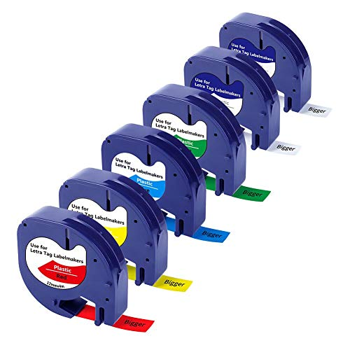 Bigger Compatible Label Tapes Replacement for Dymo LetraTag Refills Plastic Label Tape 16952 91331 91332 91333 91334 91335 (1/2 Inch x 13 Feet, 12mm x 4m, 6-Pack)