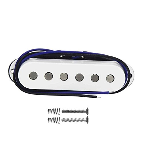 FLEOR plana Pieza del Polo Pastillas Alnico 5 Single Coil Pickup Medio (50 mm) para Stratocaster Guitarra eléctrica del estilo del reemplazo de recogida, blanca