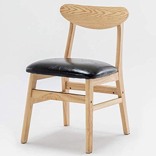 HYY-YY Sillas de comedor de piel sintética, cojín redondo, moderno, minimalista, de madera nórdica, informal, para el estudio, para restaurante o salón (color: beige, tamaño: 43 x 50 x 74 cm)