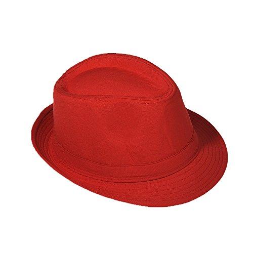 Strohhut Panama Fedora Trilby Gangster Hut Sonnenhut mit Stoffband Farbe:-Rot Gr:-54