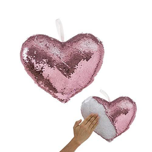 Cojín de Lentejuelas Rosa de corazón romántico para decoración de 30x25 France - LOLAhome