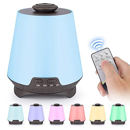 Luftbefeuchter Diffusor 330 ml Ultraschall Aromatherapie Luftbefucher für ättherische Öle, Kaltnebel-LuftBefeuchter mit 7-farben-led-stimmungslicht, 2 sprähmodi (Deep wood grain)