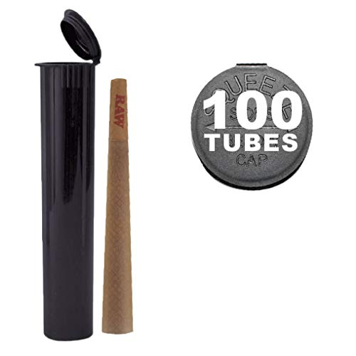 100 W Gallery 120mm Black Doob Tubes - Smell Proof Pop Top Joint Blunt Cigarette Storage Holder - BPA Free Plastic Stores King Size RAW Cones - 18617 + Bonus Bulk Pack - 120 mm replaces 116mm 116